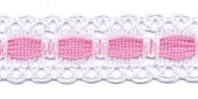 Wit kant met roze ingevlochten bandje 25 mm (ca. 16 meter)