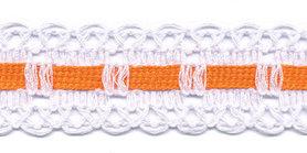 Wit kant met oranje ingevlochten bandje 25 mm (ca. 16 meter)