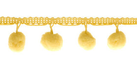 Pompom band zachtgeel 20 mm (ca. 16 meter)