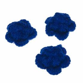 Gehaakte bloem kobalt blauw ca. 40 mm (10 stuks)