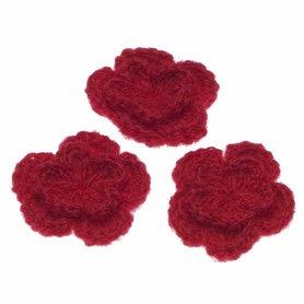 Gehaakte bloem rood ca. 50 mm (10 stuks)