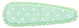 Haarknip met haarkniphoesje satijn mintgroen met witte stip / polkadot 5 cm (ca. ca. 100 stuks)
