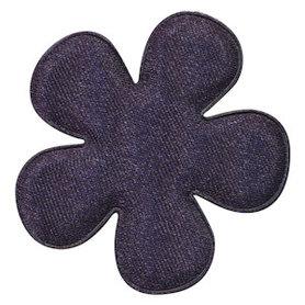 Applicatie bloem donker blauw satijn effen groot 47 mm (ca. 100 stuks)