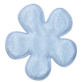 Applicatie bloem licht blauw satijn effen groot 47 mm (ca. 100 stuks)