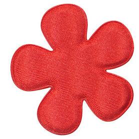 Applicatie bloem rood satijn effen groot 47 mm (ca. 100 stuks)