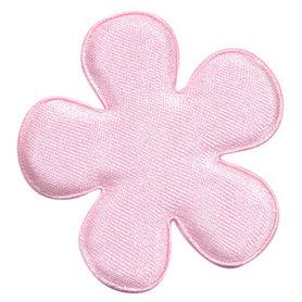 Applicatie bloem licht roze satijn effen groot 47 mm (ca. 100 stuks)