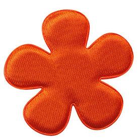 Applicatie bloem oranje satijn effen groot 47 mm (ca. 100 stuks)