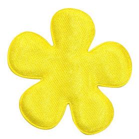 Applicatie bloem geel satijn effen groot 47 mm (ca. 100 stuks)