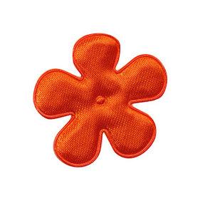 Applicatie bloem oranje satijn effen middel 35 mm (ca. 100 stuks)