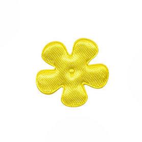 Applicatie bloem geel satijn effen klein 25 mm (ca. 100 stuks)