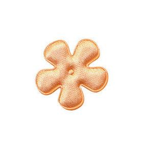 Applicatie bloem zalm/oranje satijn effen klein 25 mm (ca. 100 stuks)