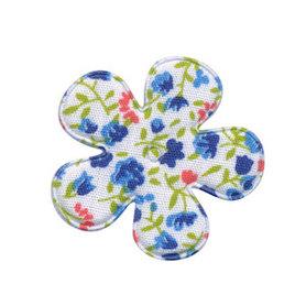 Applicatie bloem met bloemenprintje blauw middel 35 mm (ca. 100 stuks)