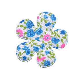 Applicatie bloem met bloemenprintje aqua middel 35 mm (ca. 100 stuks)