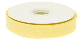 Zacht geel gevouwen biaisband 20 mm (20 meter)