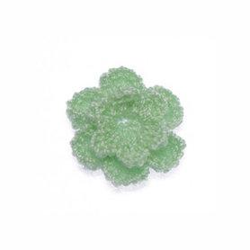 Gehaakt roosje mintgroen 25 mm (10 stuks)
