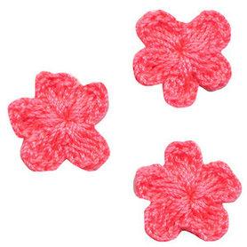 Gehaakt bloemetje NEON roze 20 mm (10 stuks)
