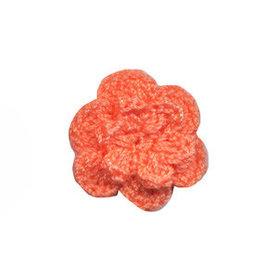 Gehaakt roosje licht peach 25 mm (10 stuks)