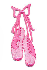 Opstrijkbare applicatie balletschoentjes roze (5 stuks)