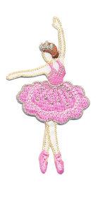 Opstrijkbare applicatie ballerina met roze jurk (5 stuks)