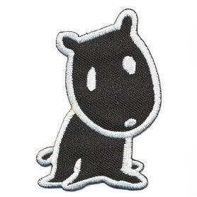 Opstrijkbare applicatie hondje zwart (5 stuks)