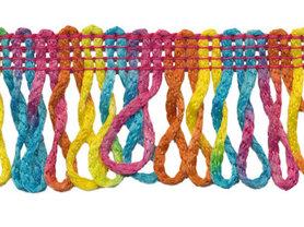 Franjeband gedraaid multicolor ca. 35 mm (ca. 16 meter)