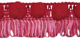 Franjeband met pompom roze-rood ca. 30 mm (ca. 16 meter)