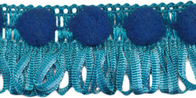 Franjeband met pompom blauw ca. 30 mm (ca. 16 meter)