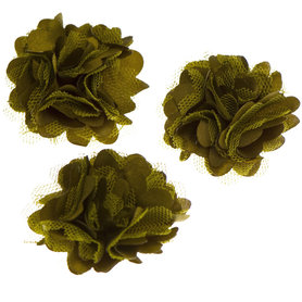 Bloem stof legergroen ca. 5 cm (5 stuks)