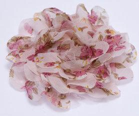 Bloem XL mix tule en bloemenprint stof roze ca. 12 cm (5 stuks)