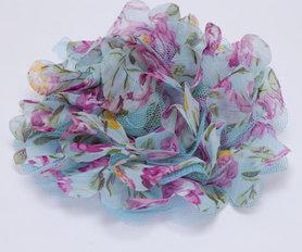 Bloem XL mix tule en bloemenprint stof aqua ca. 12 cm (5 stuks)