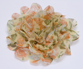 Bloem XL mix tule en bloemenprint stof geel ca. 12 cm (5 stuks)