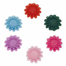 Flatback bloem MIX kleuren middel 21 mm (100 stuks)