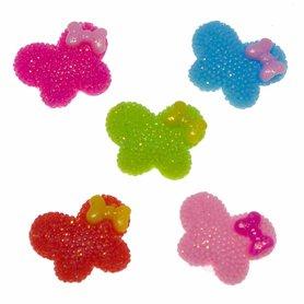 Flatback glitter vlinder met strikje MIX kleuren klein 20 mm (100 stuks)