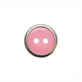 Knoop met metalen rand roze 13 mm (ca. 100 stuks)