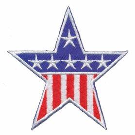 Opstrijkbare applicatie Stars & Stripes rood-wit-blauw (5 stuks)