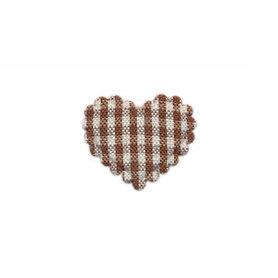 Applicatie ruitjes hart bruin klein 25 x 20 mm (ca. 100 stuks)