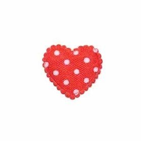 Applicatie hart rood met witte stippen satijn klein 20 x 20 mm (ca. 100 stuks)