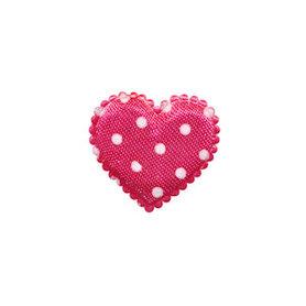 Applicatie hart fuchsia met witte stippen satijn klein 20 x 20 mm (ca. 100 stuks)
