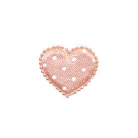 Applicatie hart zalm met witte stippen satijn klein 25 x 20 mm (ca. 100 stuks)