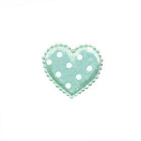 Applicatie hart mintgroen met witte stippen satijn klein 25 x 20 mm (ca. 100 stuks)