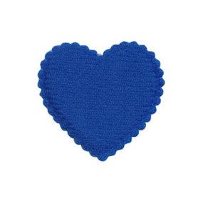 Applicatie hart kobalt blauw vilt middel 35 x 35 mm (ca. 100 stuks)