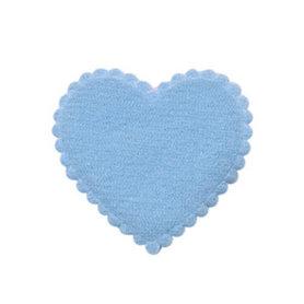 Applicatie hart licht blauw vilt middel 35 x 35 mm (ca. 100 stuks)