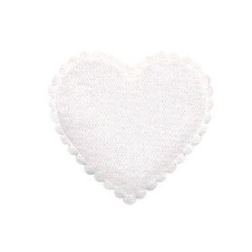 Applicatie hart wit vilt middel 35 x 35 mm (ca. 100 stuks)