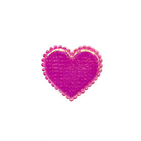 Applicatie glim hart fuchsia klein 20 x 20 mm (ca. 100 stuks)