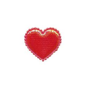 Applicatie glim hart rood klein 20 x 20 mm (ca. 100 stuks)