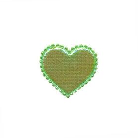 Applicatie glim hart groen klein 20 x 20 mm (ca. 100 stuks)