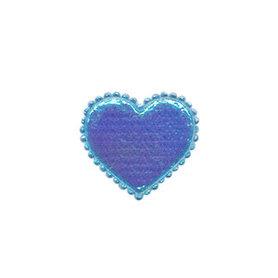 Applicatie glim hart blauw klein 20 x 20 mm (ca. 100 stuks)