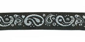 Zwart-wit paisley sierband 15 mm (ca. 22 m)