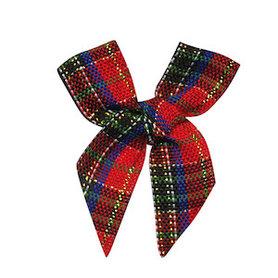 Kerststrik geruit blauw-zwart-rood-groen-goud (ca. 25 stuks)