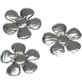 Applicatie glim bloem met ronde blaadjes zilver middel 35 mm (ca. 100 stuks)